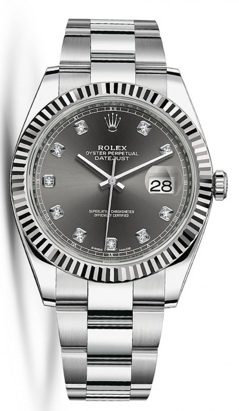 Fake Rolex Datejust 41 Dark Rhodium Diamond Dial Mens Watch M126334-0005