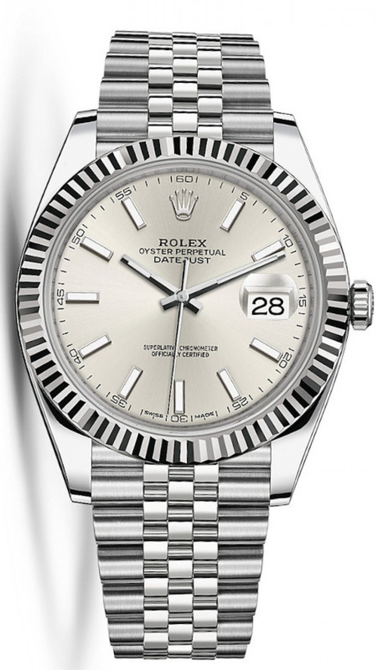 Fake Rolex Datejust 41 Silver Dial Mens Watch M126334-0004