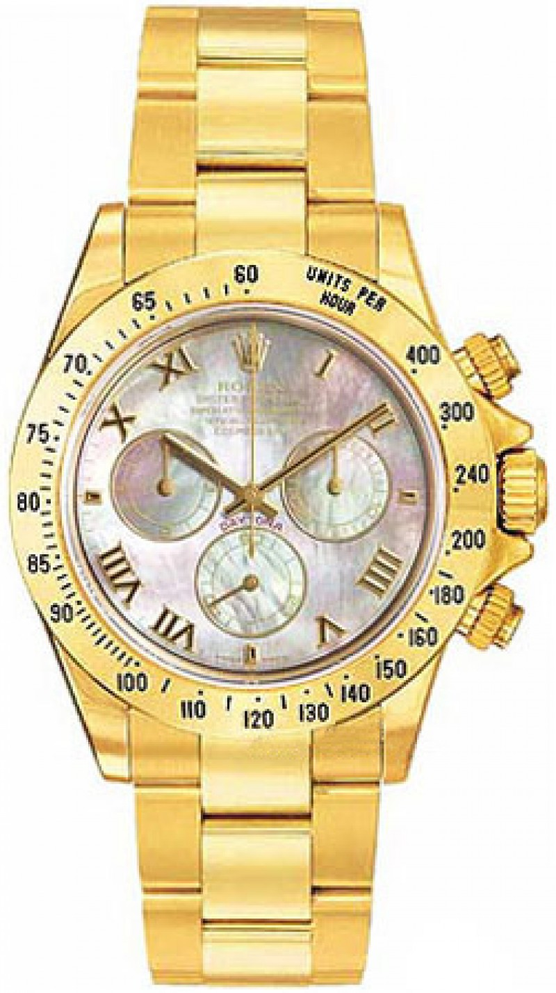 Fake Rolex Daytona Mother of Pearl Roman Dial Mens Watch 116528MRO