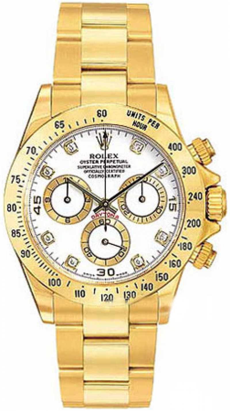 Fake Rolex Daytona White Diamond Dial Mens Watch 116528WDO