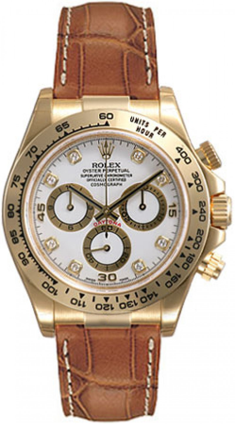 Fake Rolex Daytona White Diamond Dial Mens Watch 116518WDL