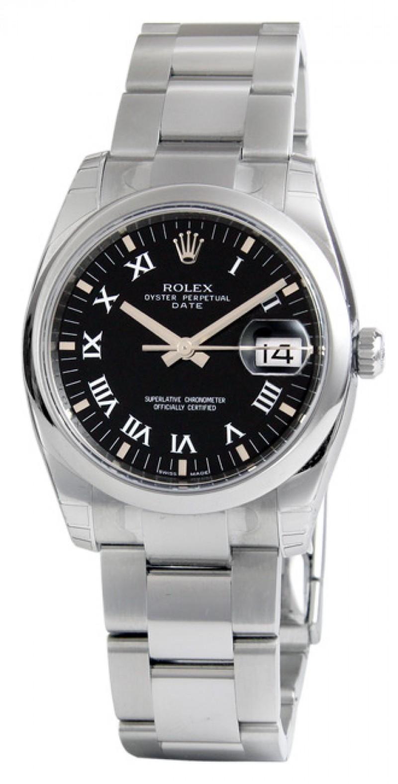 Fake Rolex Date Black Roman Dial Mens Watch 115200BKRO
