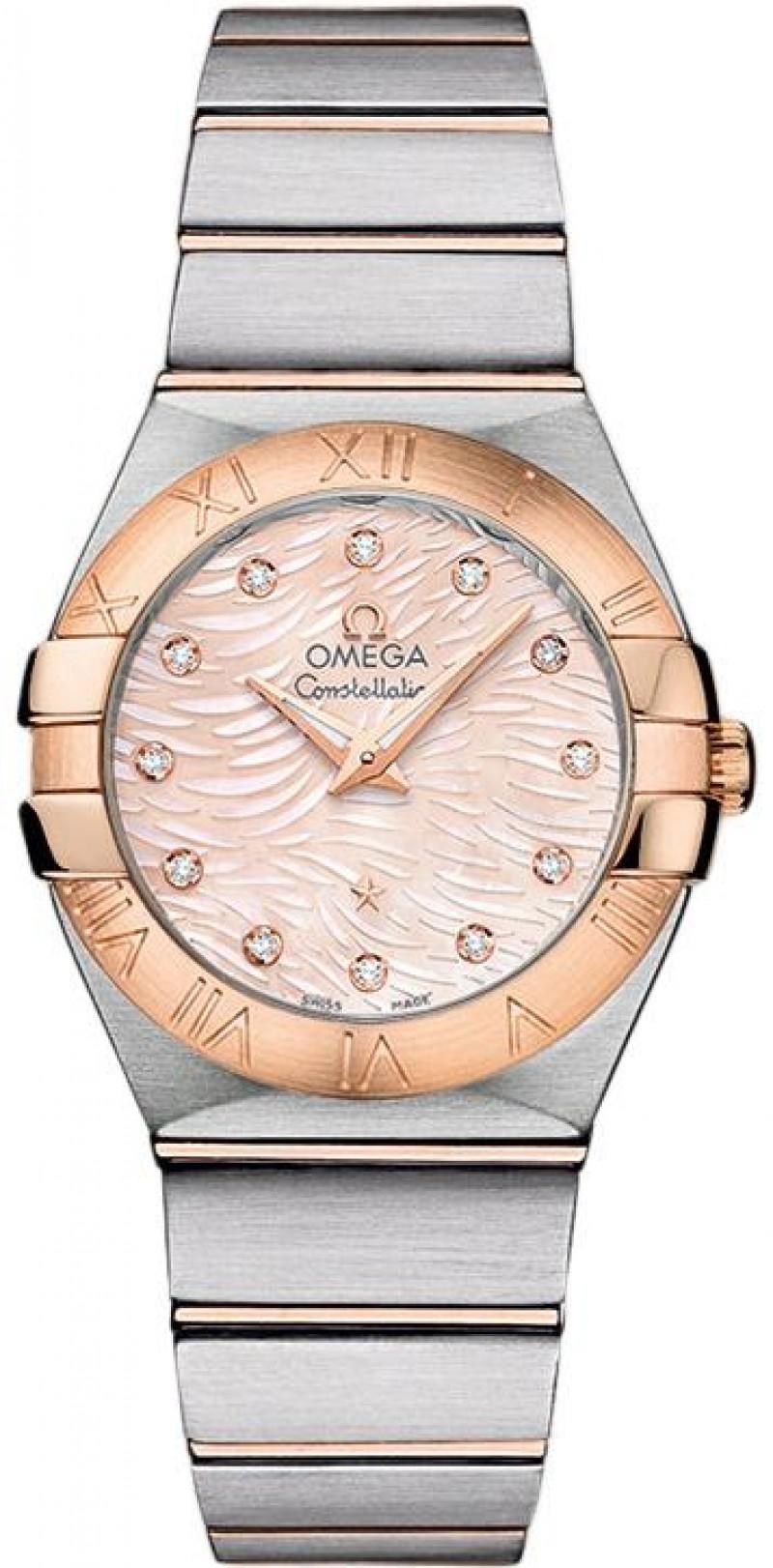 Fake Omega Constellation Quartz 27mm Pink Diamond Pearl Watch 123.20.27.60.57.004