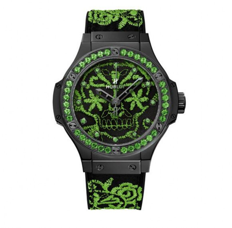Fake Hublot Big Bang Broderie Sugar Skull Fluo Malachik Green 41mm Watch 343.CG.6590.NR.1222