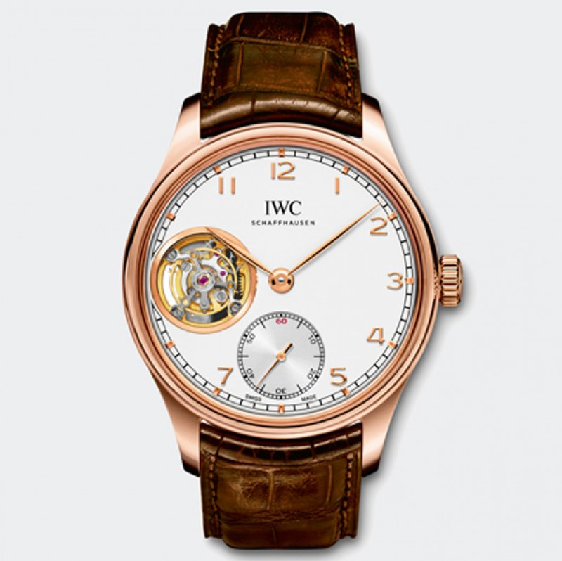 Fake IWC Portuguese Tourbillon Hand-Wound Rose Gold Mens Watch IW546302