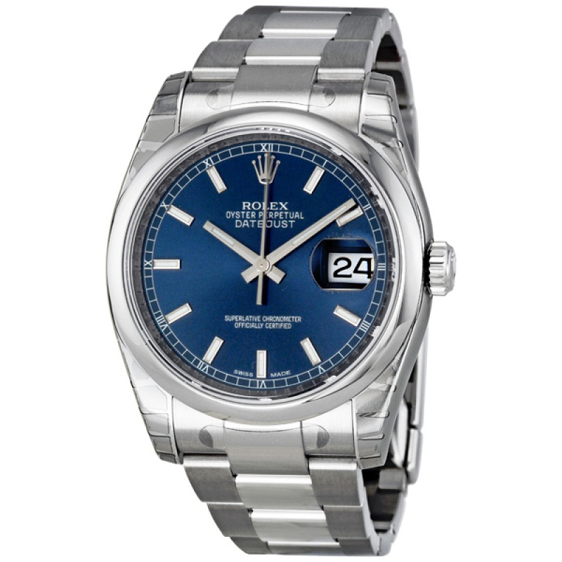 Fake Rolex Datejust Blue Index Dial Mens Watch 116200BLSO