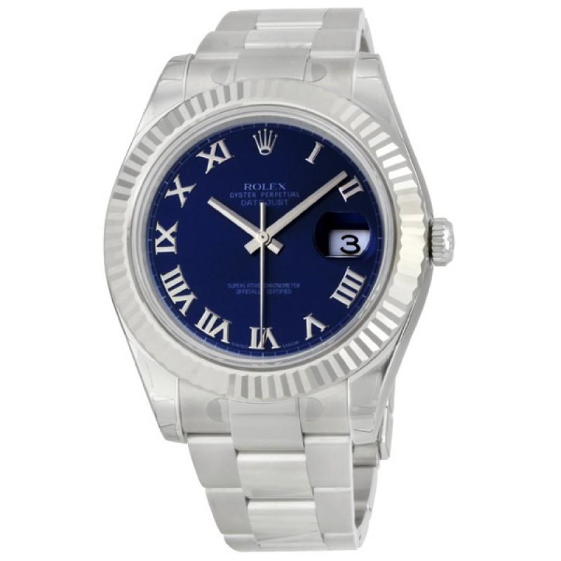 Fake Rolex Datejust II Blue Roman Dial Mens Watch 116334BLRO