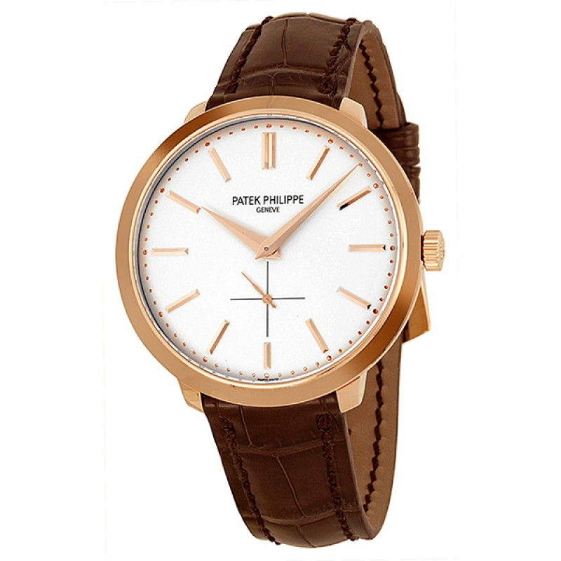 Replica Patek Philippe Calatrava Silver Dial 18k Rose Gold Brown Leather Mens Watch 5123R-001