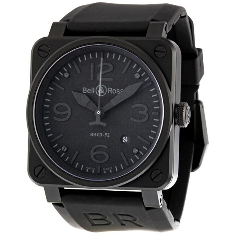 Replica Bell & Ross Aviation Phantom All Black Dial Automatic 42MM Mens Watch BR-03-92-PHANTOM