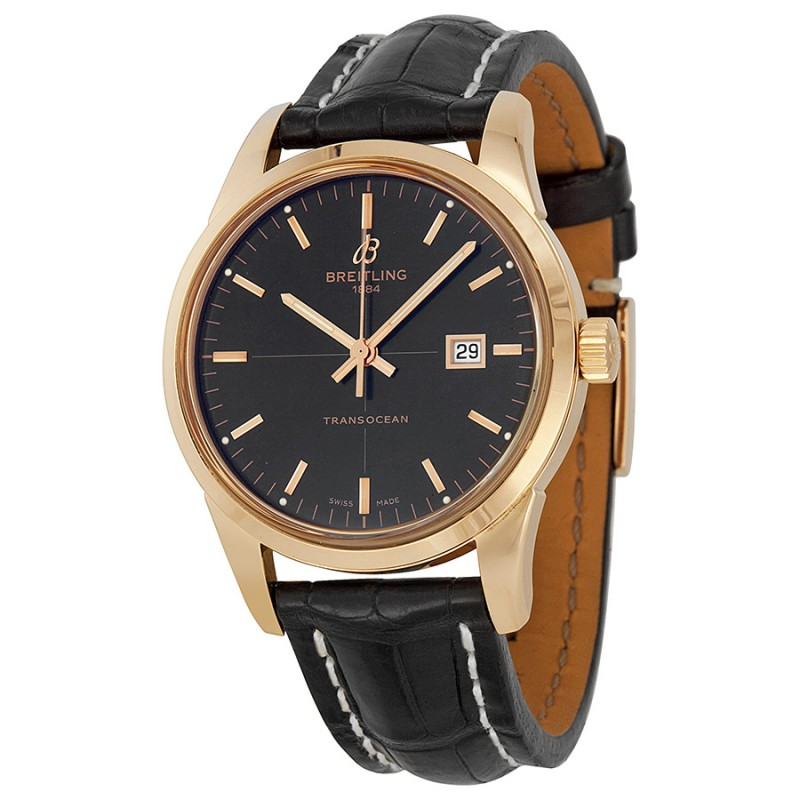 Fake Breitling Transocean Rose Gold Automatic Mens Watch R1036012-BA92BKCT