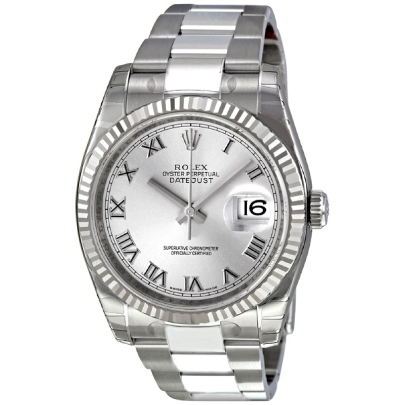 Fake Rolex Perpetual Datejust Rhodium Dial Mens Watch 116234RRO