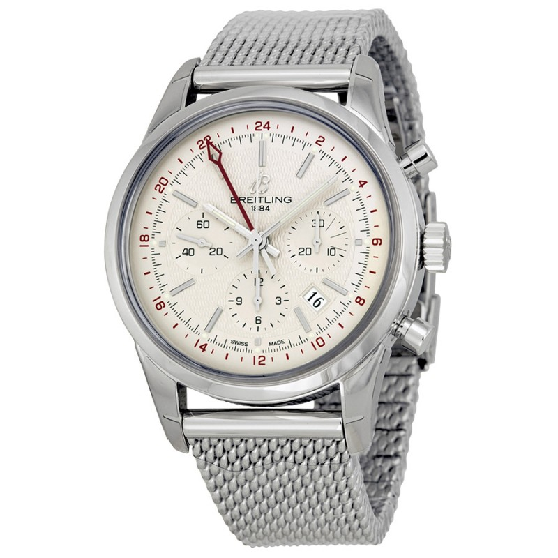 Fake Breitling Transocean Ivory Dial Chronograph Mens Watch AB045112-G772SS