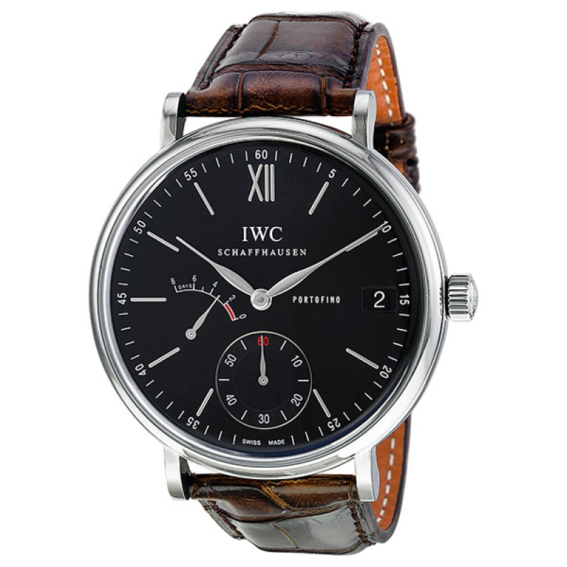 Fake IWC Portofino Hand-Wound Eight Days Automatic Black Dial Mens Watch IW510102