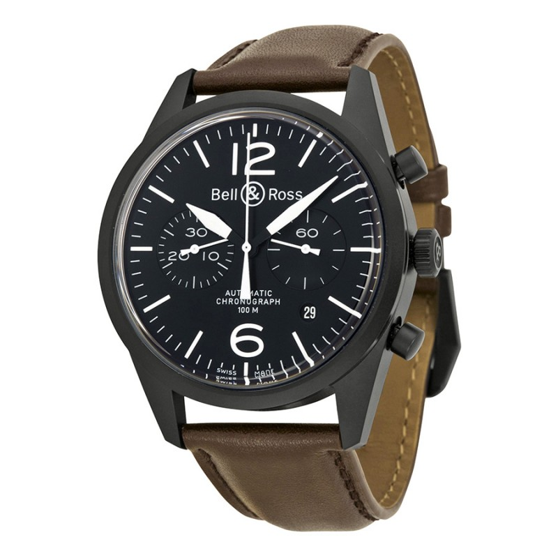 Replica Bell & Ross Black Dial Chronograph Automatic Mens Watch BRV126-BL-CA-SCA