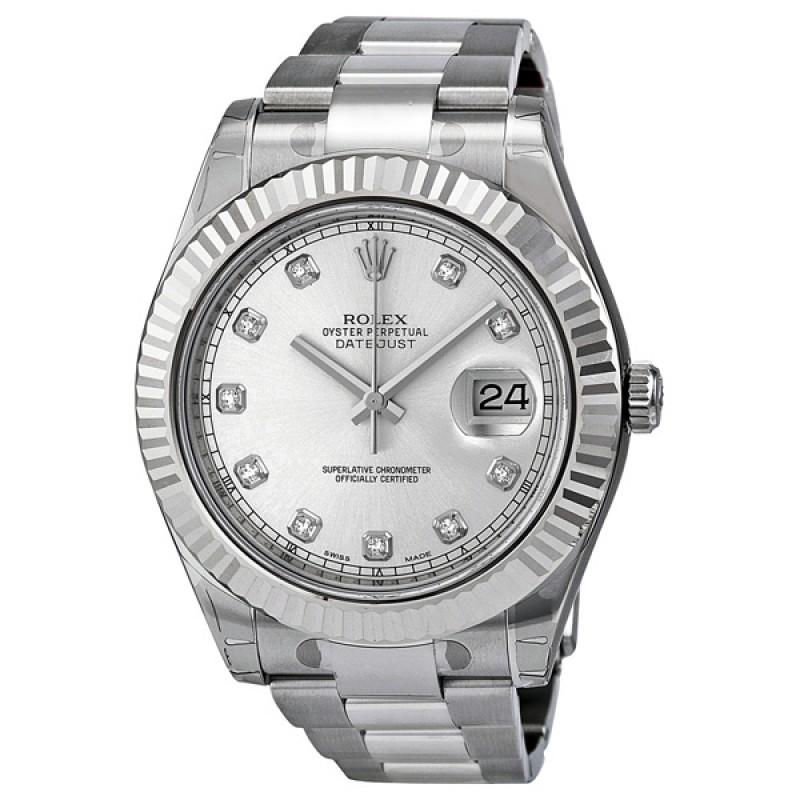 Fake Rolex Datejust II Silver Diamond Dial Mens Watch 116334SDO