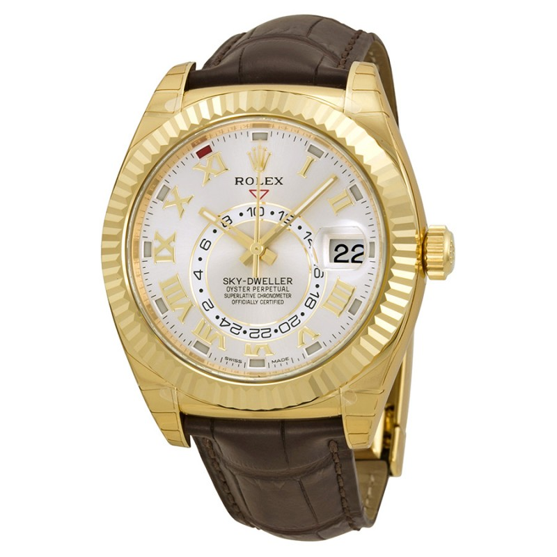 Fake Rolex Sky Dweller Silver Dial Mens Watch 326138
