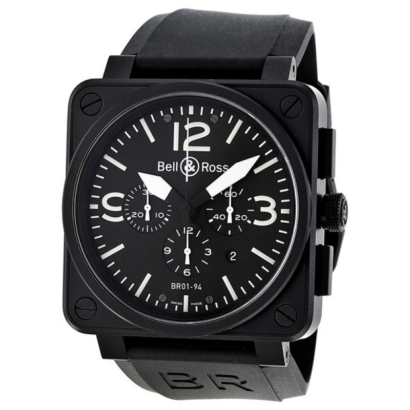 Replica Bell & Ross Carbon Chronograph Mens Watch BR0194-BL-CA