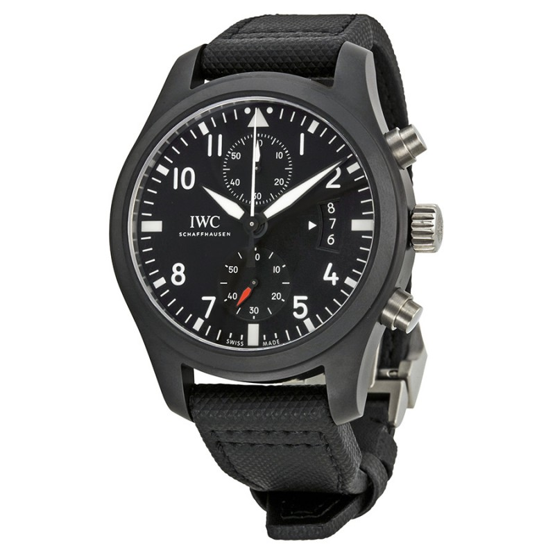 Fake IWC Pilot's Top Gun Black Dial Chronograph Mens Watch IW388007