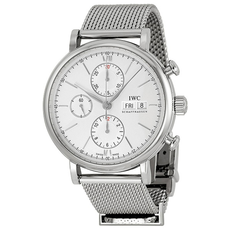 Fake IWC Portofino Silver Plated Dial Chronograph Mens Watch IW391009