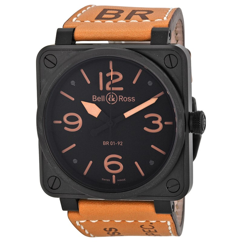 Replica Bell & Ross Heritage Black Dial Mens Watch BR01-92-HERITAGE