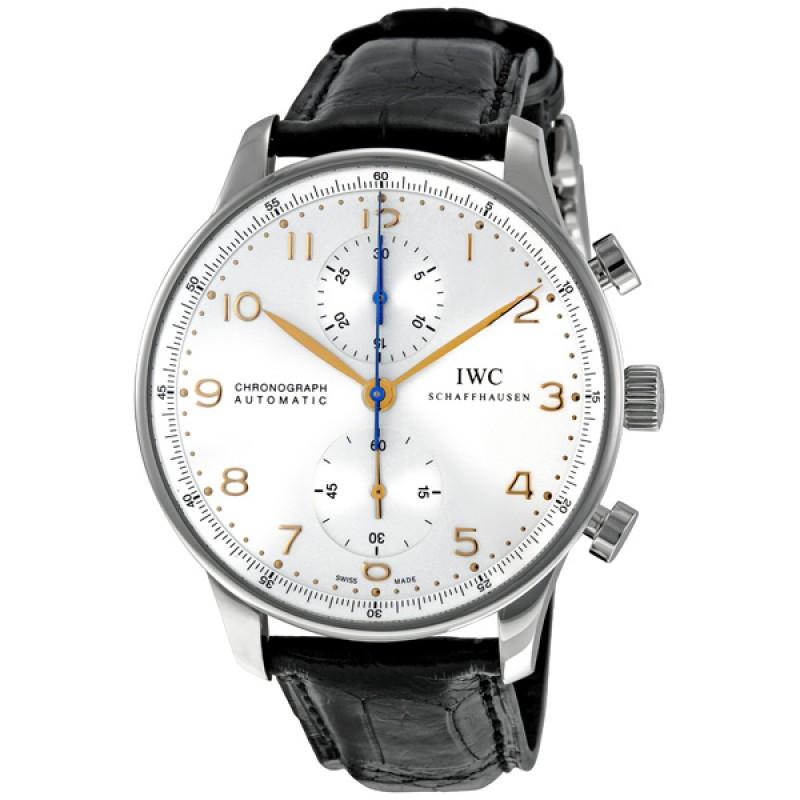 Fake IWC Portuguese Silver Dial Chronograph Mens Watch 3714-45