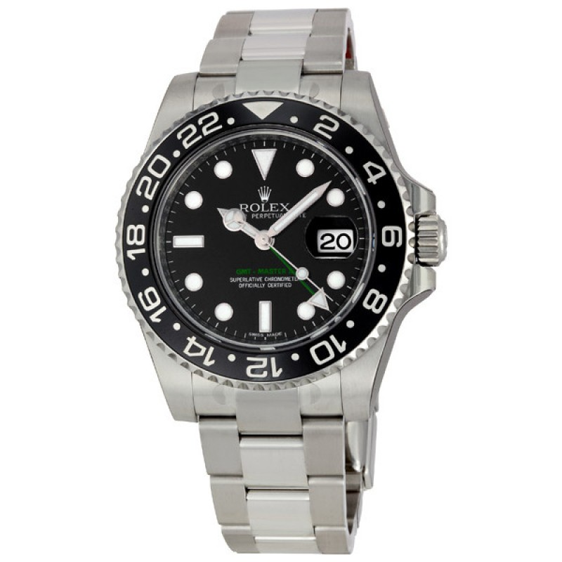 Fake Rolex GMT Master II Black Index Dial Mens Watch 116710BKSO