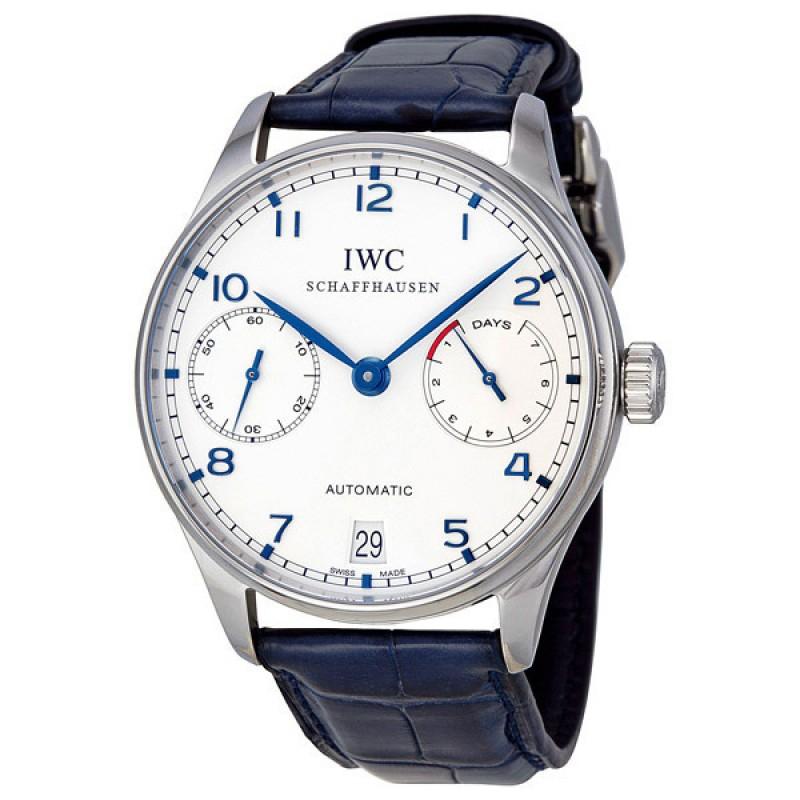 Fake IWC Portuguese Automatic Steel Blue Mens Watch IW500107