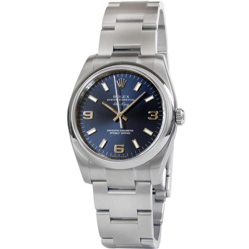 Fake Rolex Air king Blue Arabic Dial Mens Watch 114200BLASO