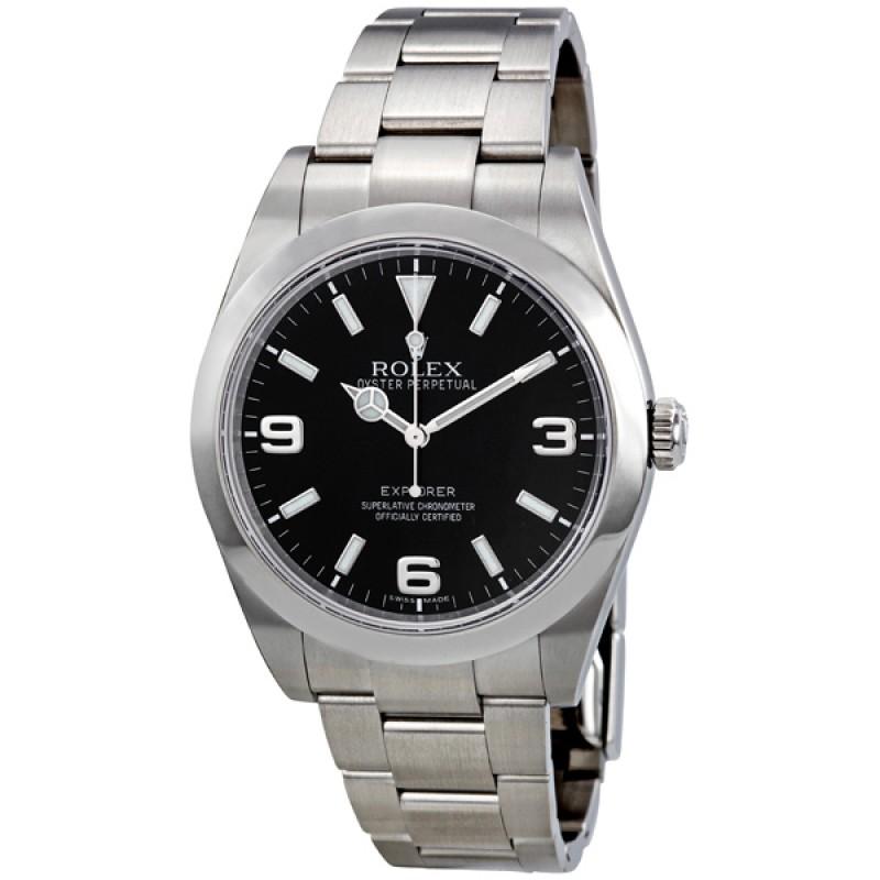 Fake Rolex Explorer Black Dial Mens Watch 214270BKASO
