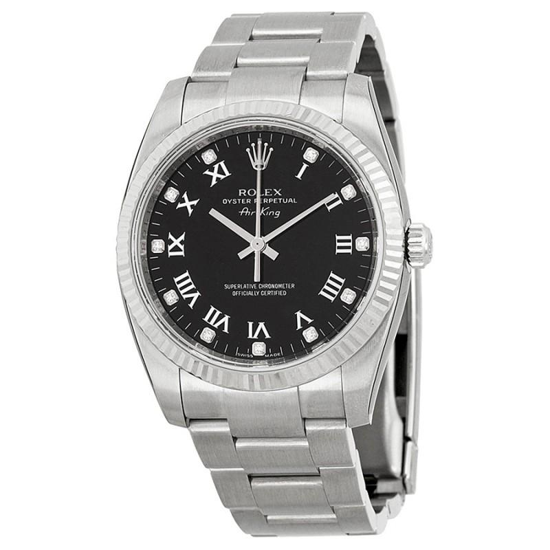 Fake Rolex Air King Black Diamond Dial Mens Watch 114234BKRDO
