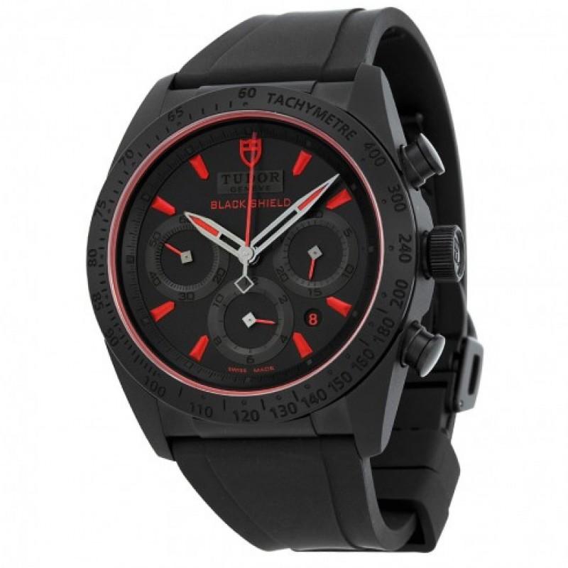 Fake Tudor Fastrider Black Shield Black Dial Blsck Rubber Mens Watch 42000CR