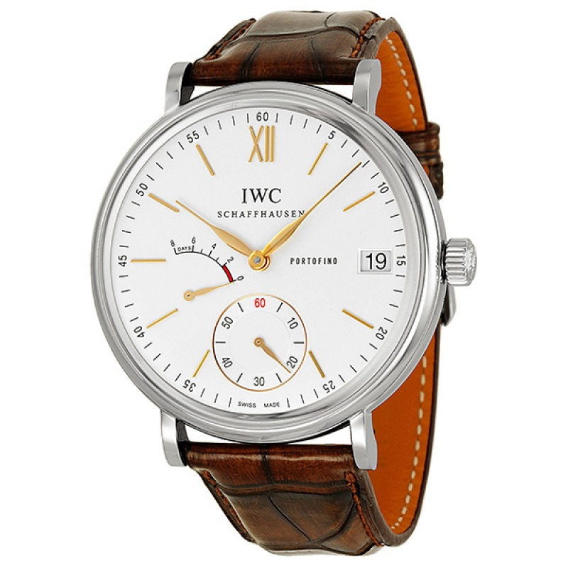 Fake IWC Portofino Hand Wound Eight Days Silver Dial Mens Watch IW510103