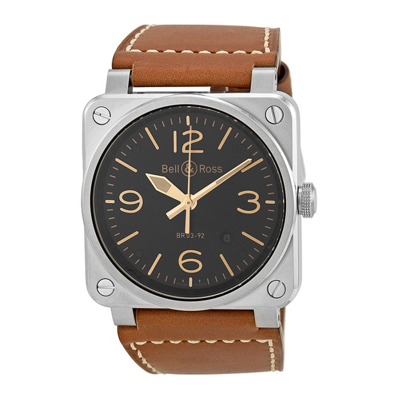 Replica Bell & Ross Aviation Gold Heritage Mens Watch BR0392-GOLD-HER
