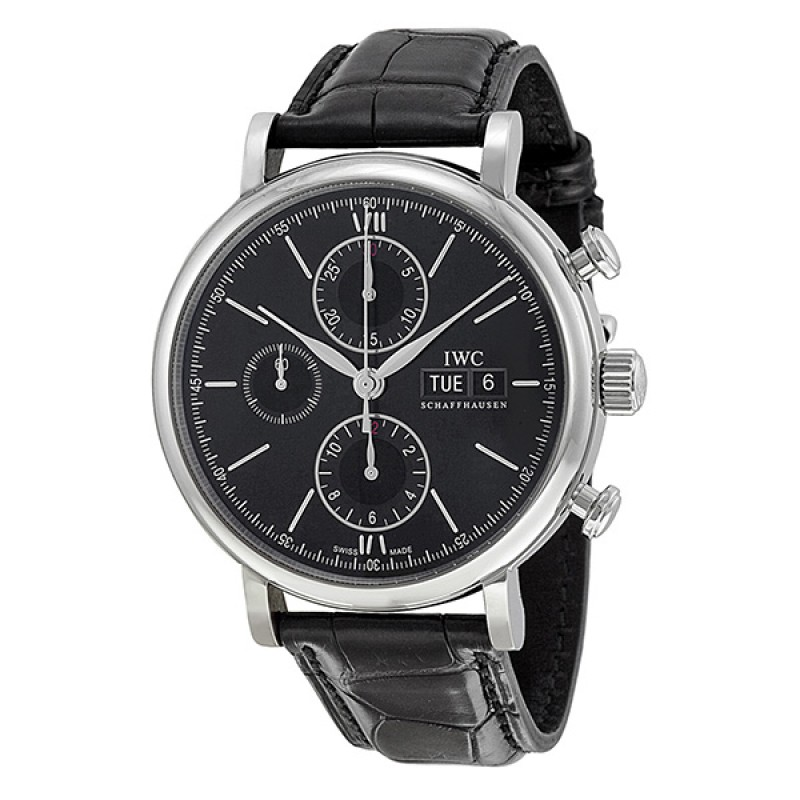 Fake IWC Portofino Chronograph Black Dial Automatic Mens Watch IW391008