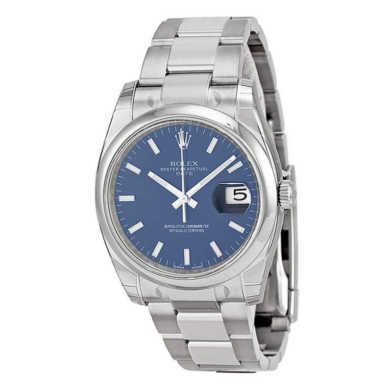 Fake Rolex Date Blue Index Dial Mens Watch 115200BLSO