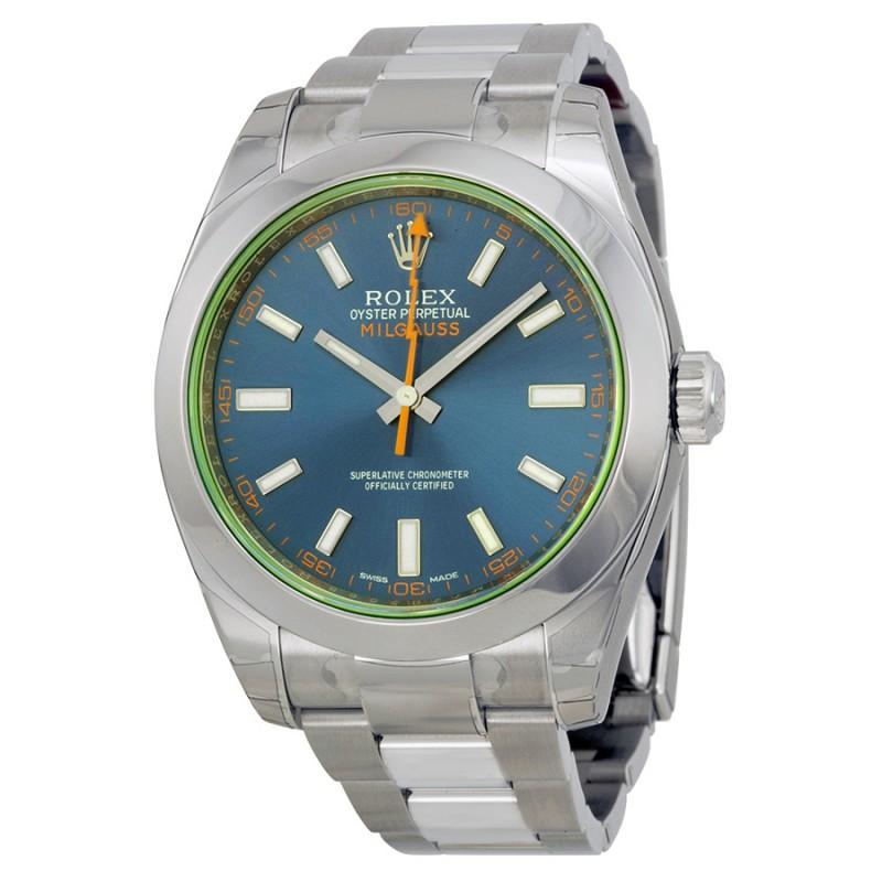 Fake Rolex Milgauss Blue Dial Mens Watch 116400GV