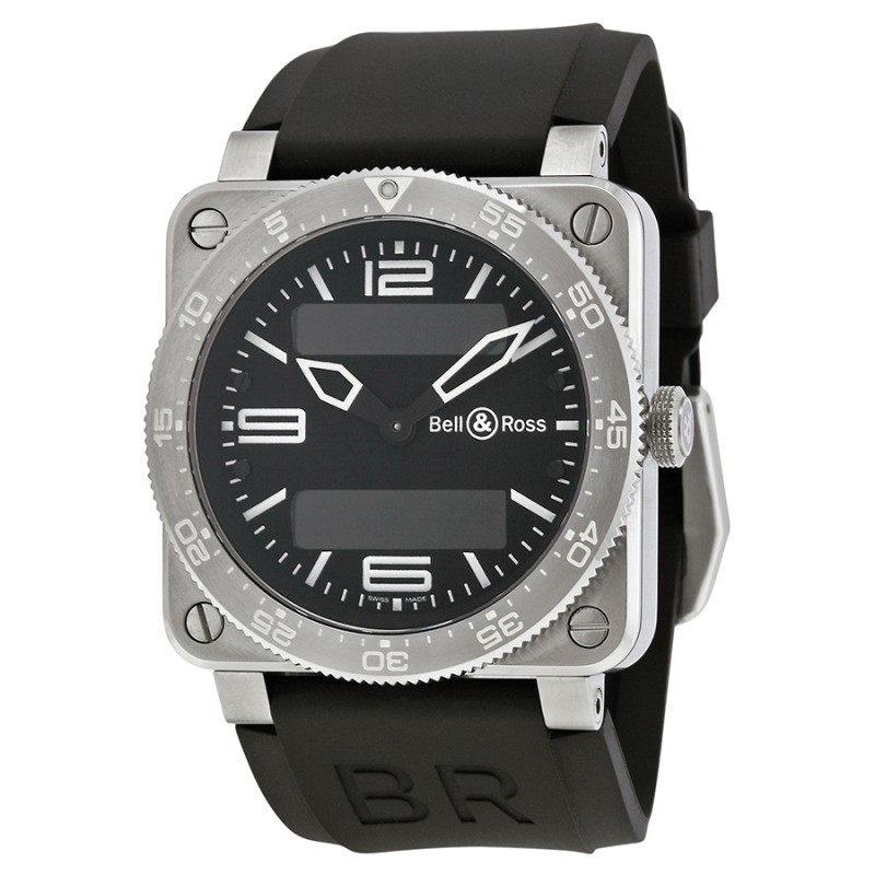 Replica Bell & Ross Aviation Black Dial Mens Watch 03-TYPE-AVI-ST