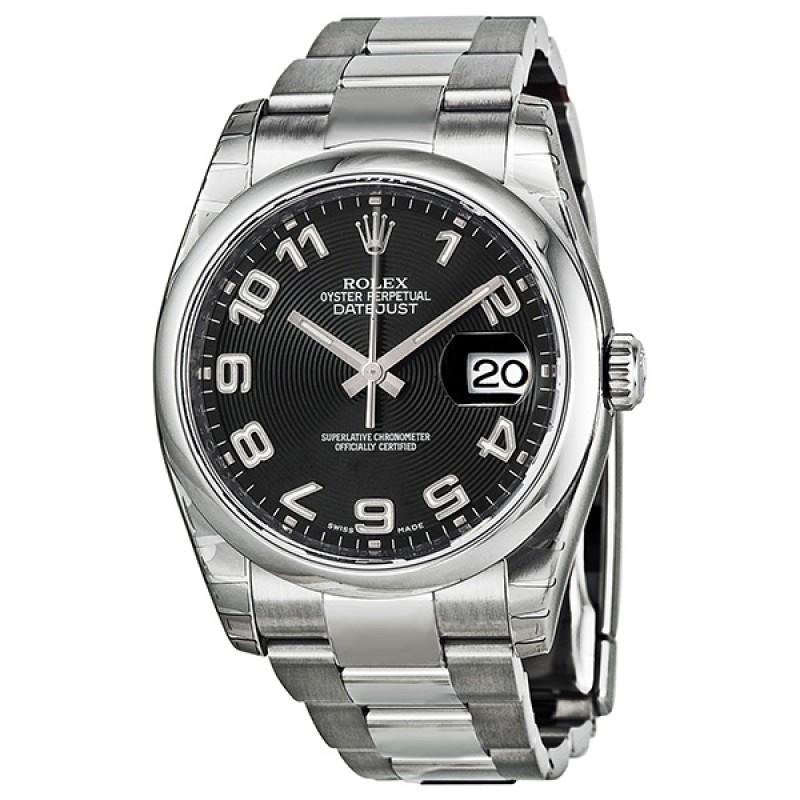 Fake Rolex Datejust Black Arabic Dial Mens Watch 116200BKAO