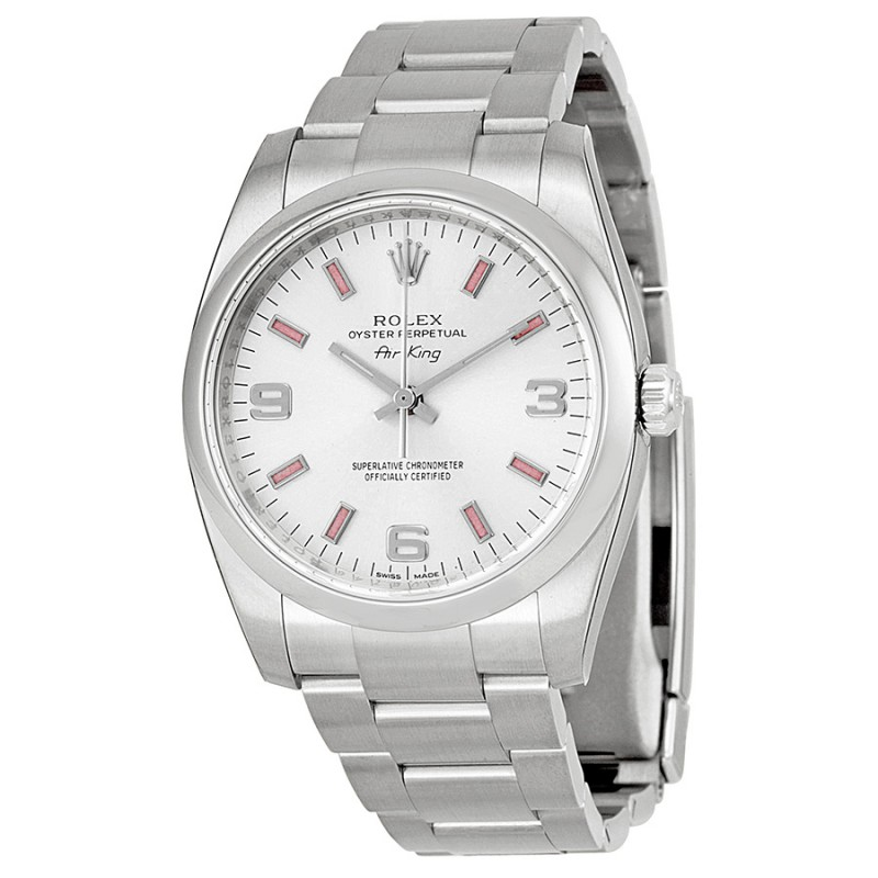 Fake Rolex Air king Silver Arabic Pink index Dial Mens Watch 114200SAPSO