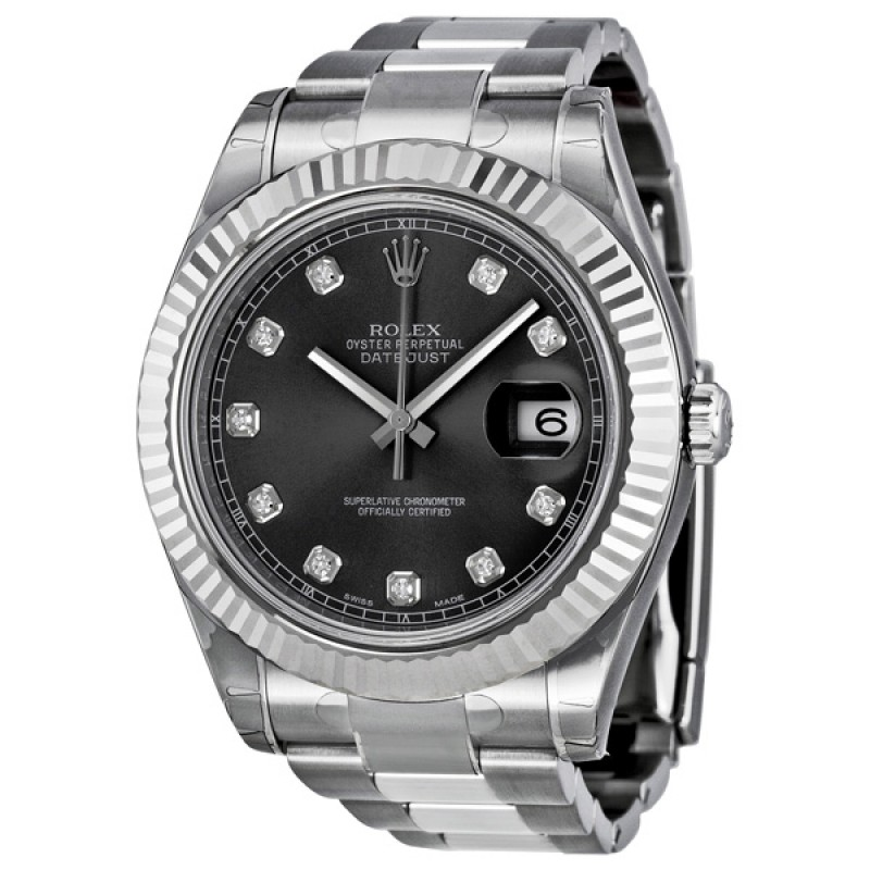 Fake Rolex Datejust II Automatic Diamond Rhodium Dial Mens Watch 116334