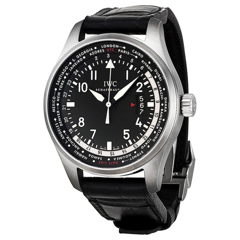 Fake IWC Pilot's Worldtimer Black Dial Automatic Mens Watch IW326201