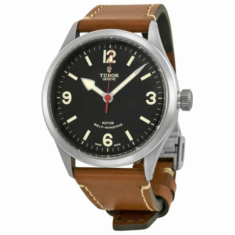 Fake Tudor Heritage Ranger Black Dial Brown Leather Mens Watch Watch