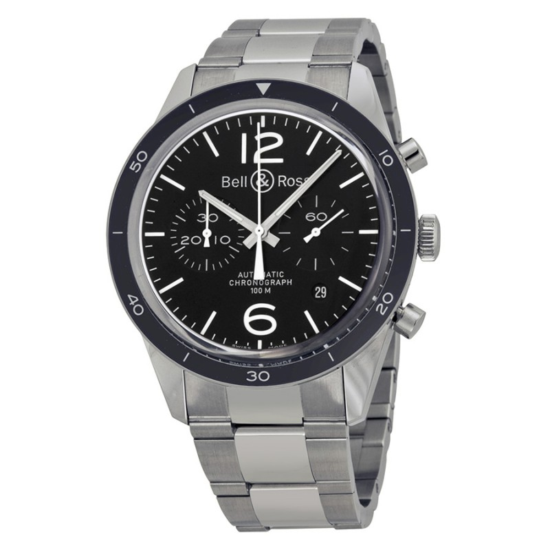 Replica Bell & Ross Vintage Sport Black Chronograph Automatic Mens Watch BRV126-BL-BE-SST