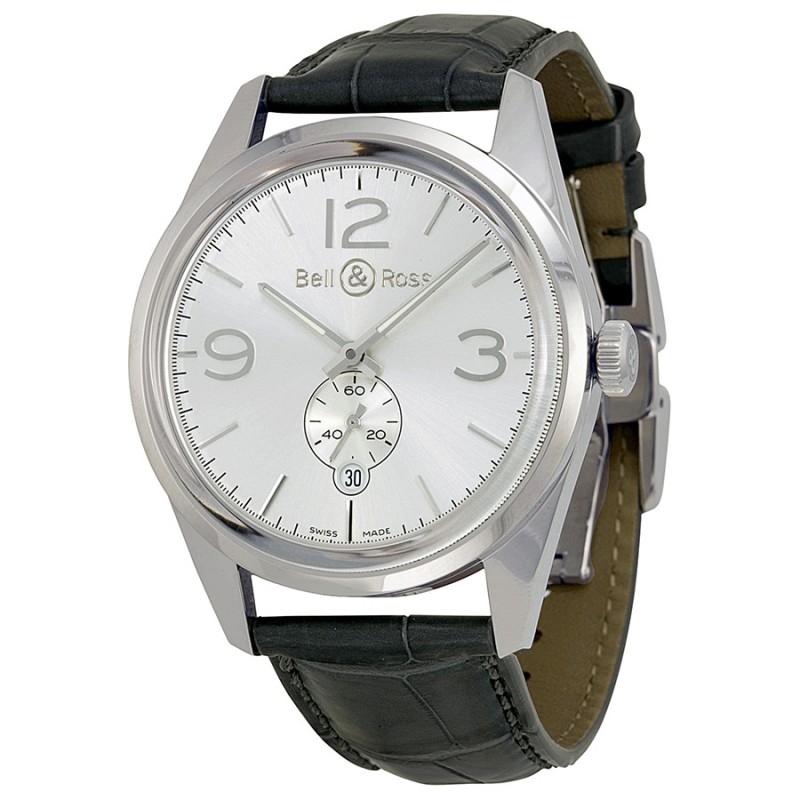 Replica Bell & Ross Vintage Officer Silver Dial Mens Watch BRG123-WH-ST-SCR
