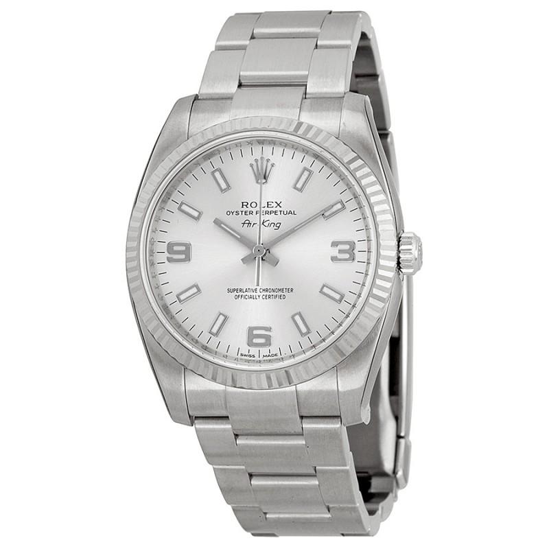 Fake Rolex Air king Silver Arabic Index Dial Mens Watch 114234SASO