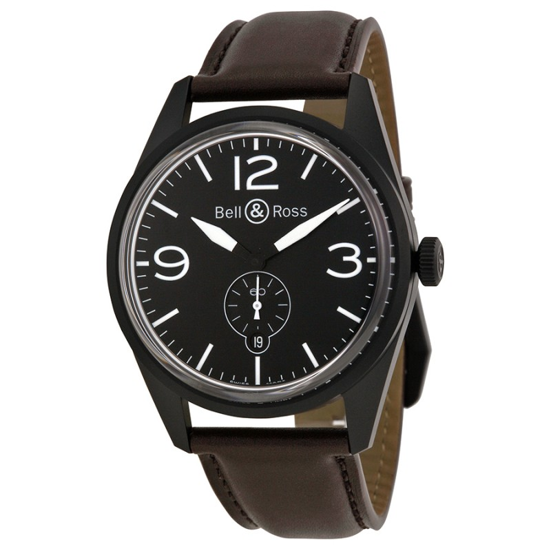 Replica Bell & Ross Vintage Automatic Black Dial Mens Watch RBRV123-BL-CA-SCA