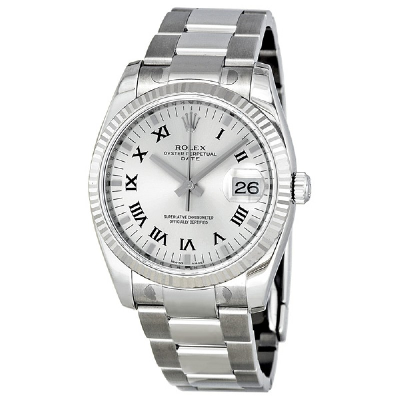 Fake Rolex Oyster Perpetual Date Silver Roman Dial Mens Watch 115234SRO