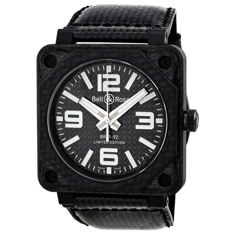 Replica Bell & Ross Aviation Carbon Fiber Black Dial 46 MM Automatic Mens Watch BR-01-92-CARBON-FIBER