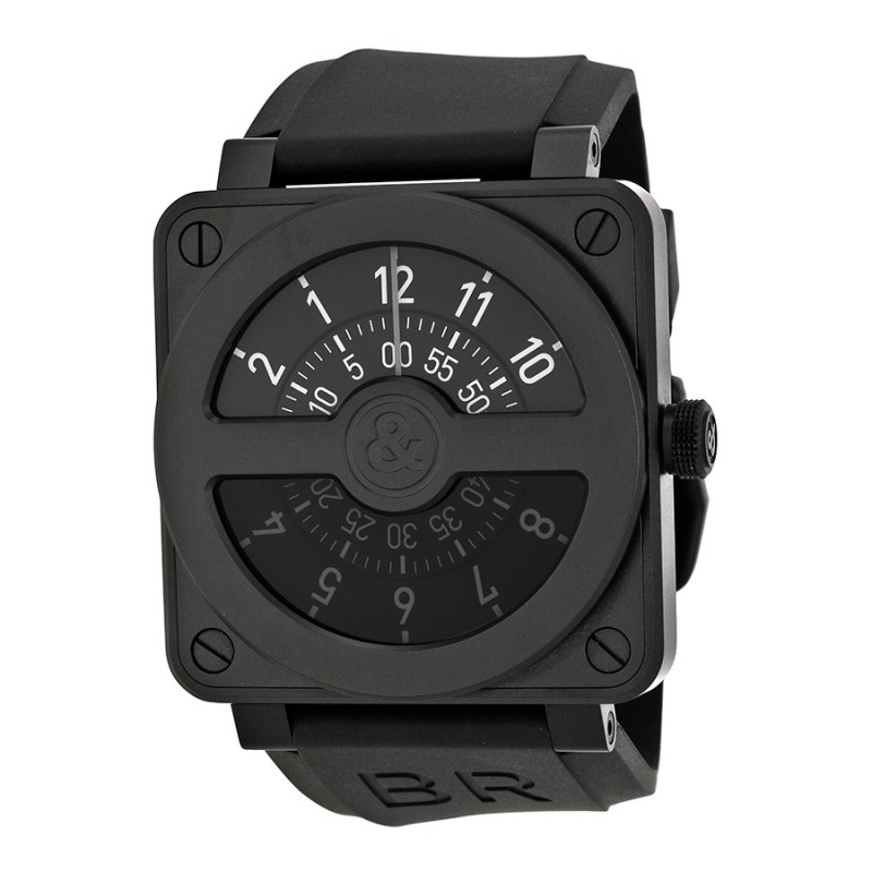 Replica Bell & Ross Compass Black Dial and Black Rubber Strap Mens Watch BR01-92-COMCARBN