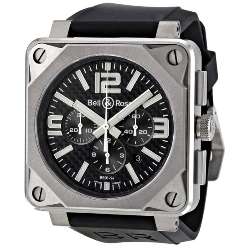 Replica Bell & Ross Chronograph Automatic Black Carbon Fiber Black Rubber Mens Watch BR0194-TI-PRO-FIB